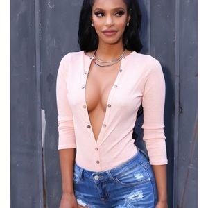 Tops - Pink button bodysuit